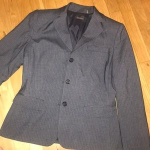 Authentic Tahari - gray blazer w/ white stripes